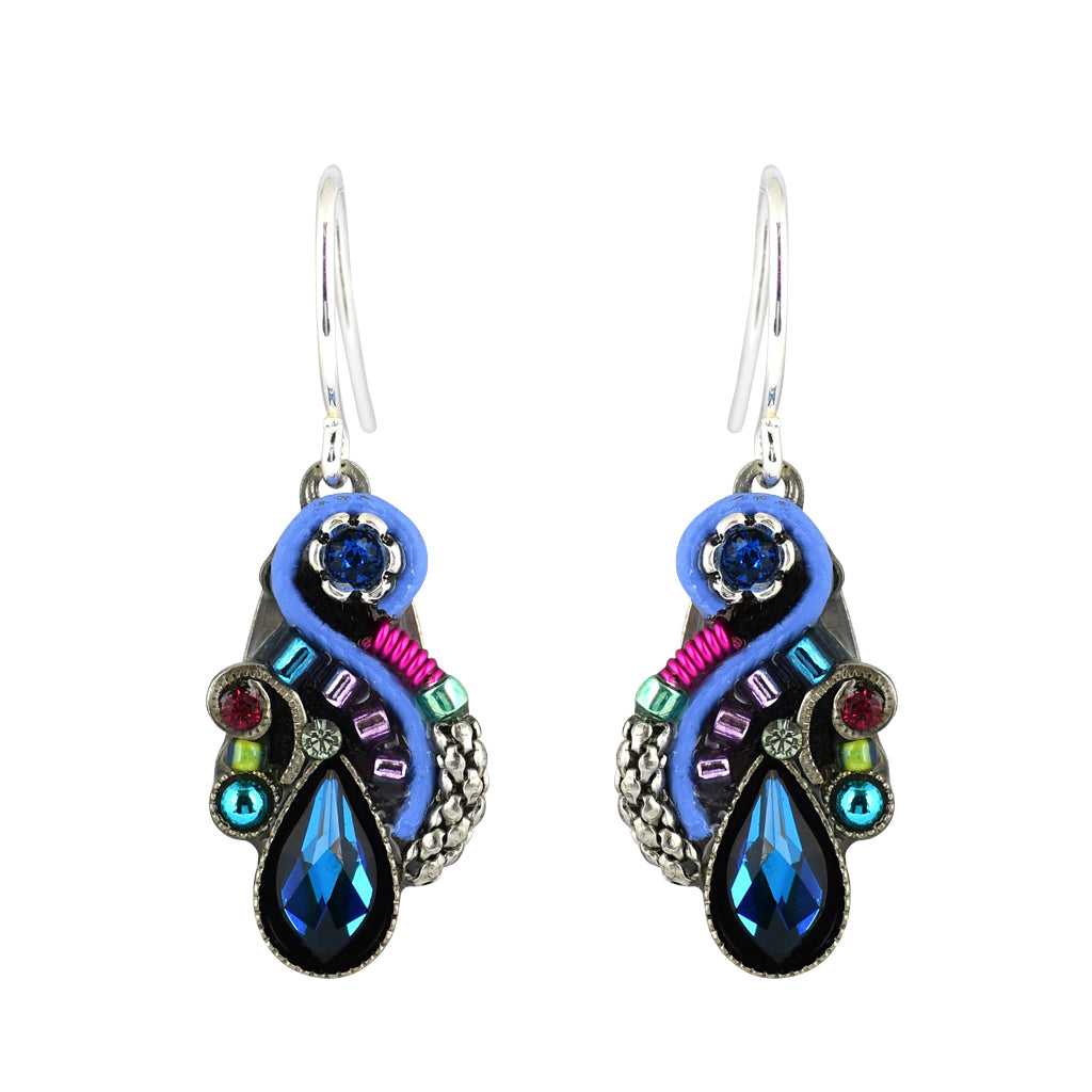 Firefly Jewelry Lily Organic Earrings, Silver Plated Multicolor Crystal Dangle