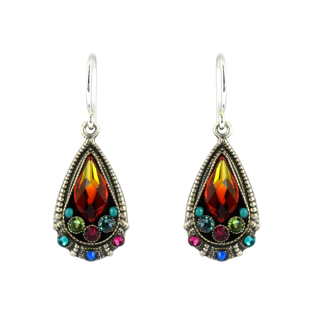 Firefly Jewelry Elegant Drop Earrings, Silver Plated Multicolor Crystal Dangle