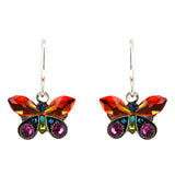 Firefly Jewelry Petite Butterfly Earrings, Silver Plated Multicolor Crystal Dangle