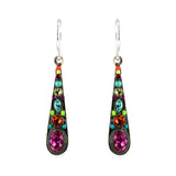 Firefly Jewelry Stiletto Medium Drop Earrings, Silver Plated Multicolor Crystal Dangle