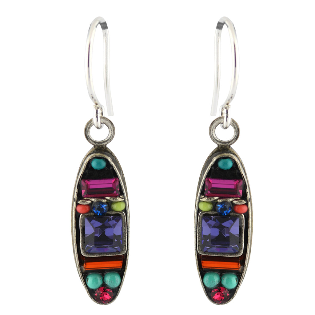Firefly Jewelry Oval Earrings, Silver Plated Multicolor Crystal Dangle