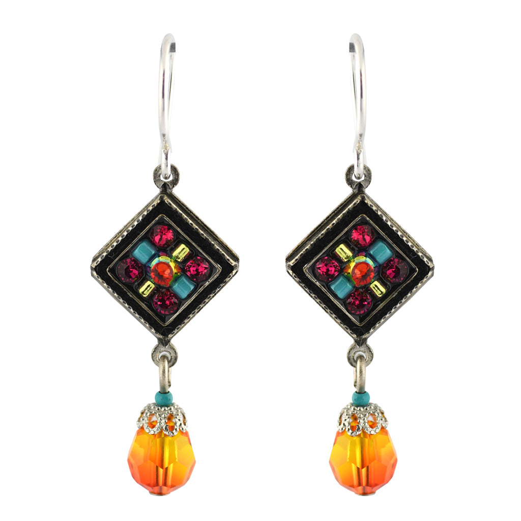 Firefly Jewelry Square Dangle Earrings, Silver Plated Multicolor Crystal