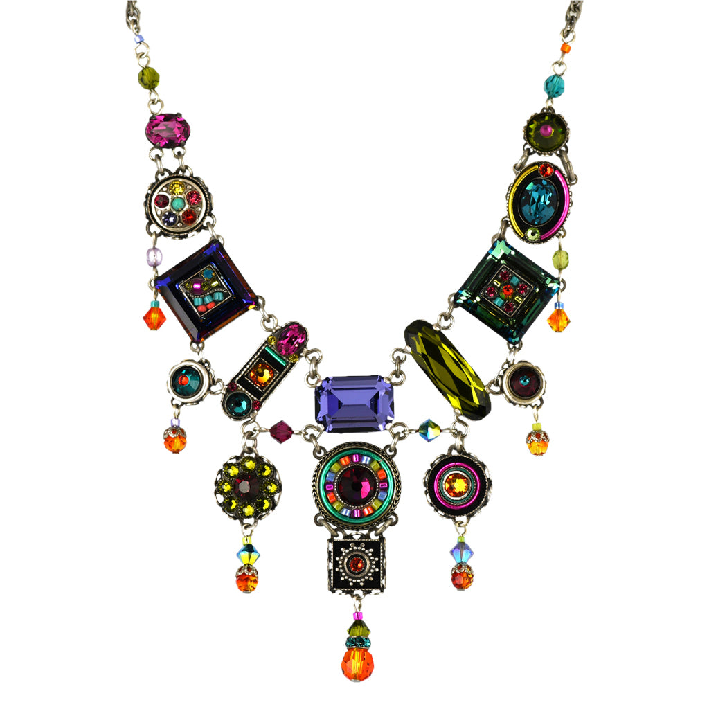 Firefly Jewelry La Dolce Vita Elaborate Necklace, Silver Plated Multicolor