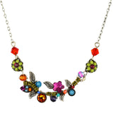Firefly Jewelry Petite Scallop Flower Necklace, Silver Plated Multicolor