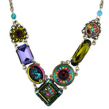 Firefly Jewelry La Dolce Vita Crystal V Necklace, Silver Plated Multicolor