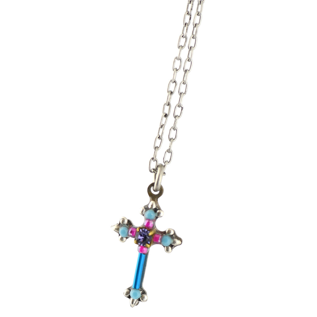 Firefly Jewelry Dainty Cross Necklace, Silver Plated Turquoise Pendant
