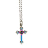 Firefly Jewelry Dainty Cross Necklace, Silver Plated Multicolor Pendant