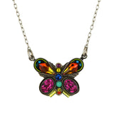 Firefly Jewelry Fancy Butterfly Necklace, Silver Plated Multicolor Pendant