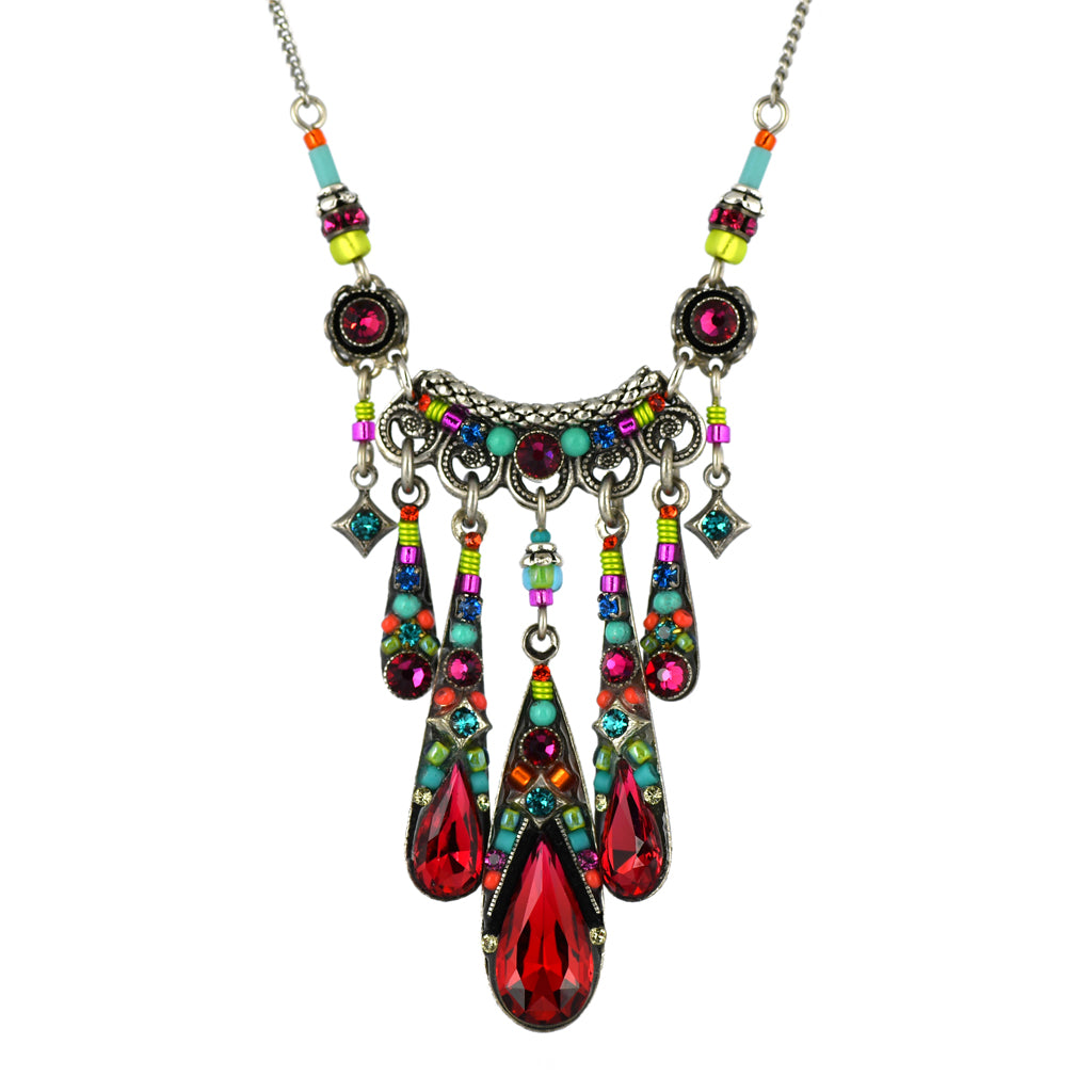 Firefly Jewelry Camelia Waterfall Necklace, Silver Plated Multicolor