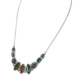 Firefly Jewelry Oval Mosaic Necklace, Silver Plated Multicolor Pendant