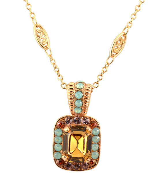Friendship Rose Gold Plated Swarovski Crystal Rectangle Pendant Necklace, 14+4