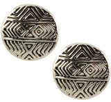 House of Harlow Tholos Mosaic Stud Earrings, Silvertone Geometric Engraved, by Nicole Richie