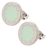 House of Harlow Sunburst Small Button Stud Earrings, Silvertone With Mint