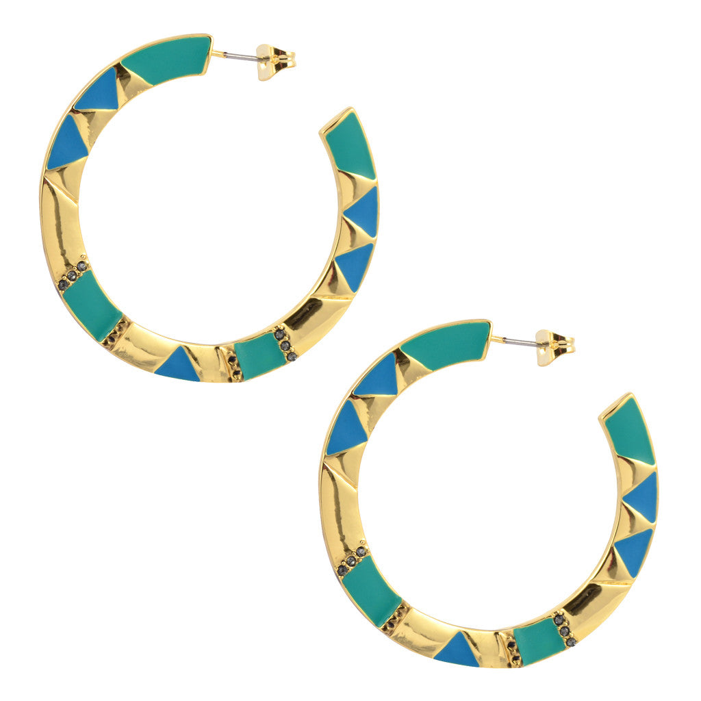 House of Harlow Teal Aztec Hoop Earrings, Goldtone
