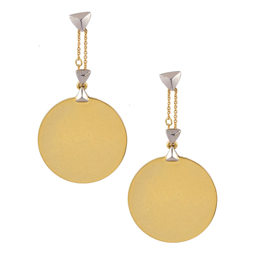 House of Harlow Shield Button Dangle Stud Earrings, Goldtone