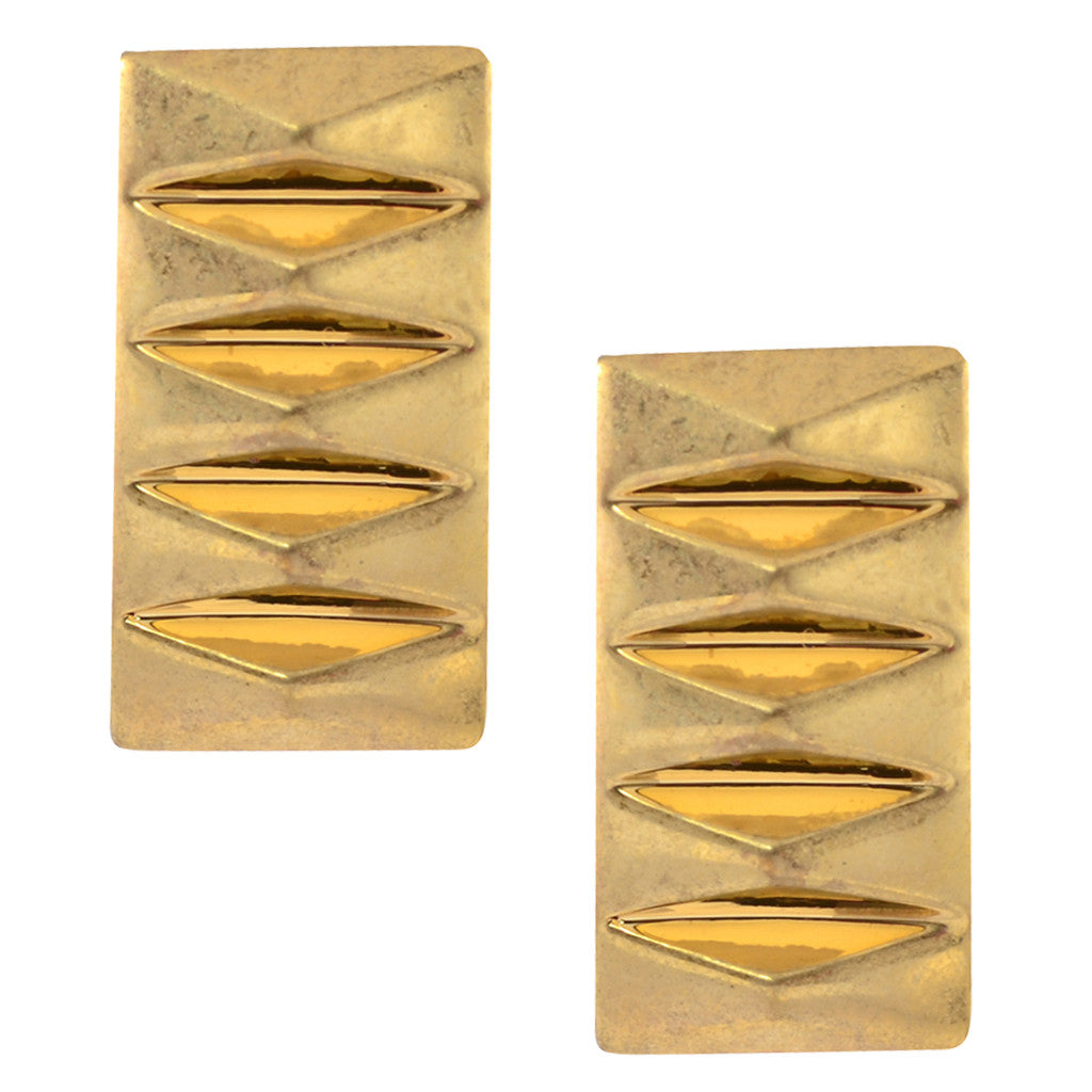 House of Harlow Triangle Notched Rectangle Stud Earrings, Goldtone