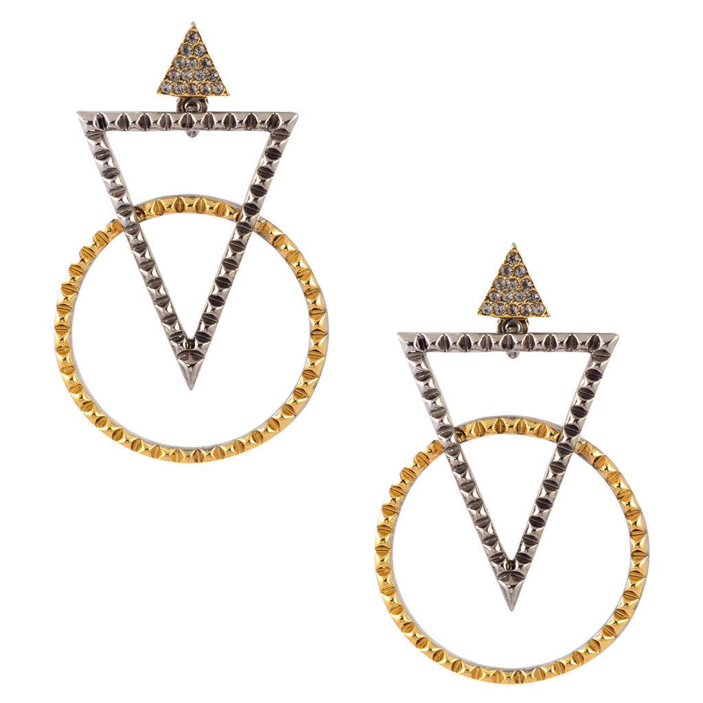 House of Harlow Triangle and Circle Pave Stud Earrings, Goldtone