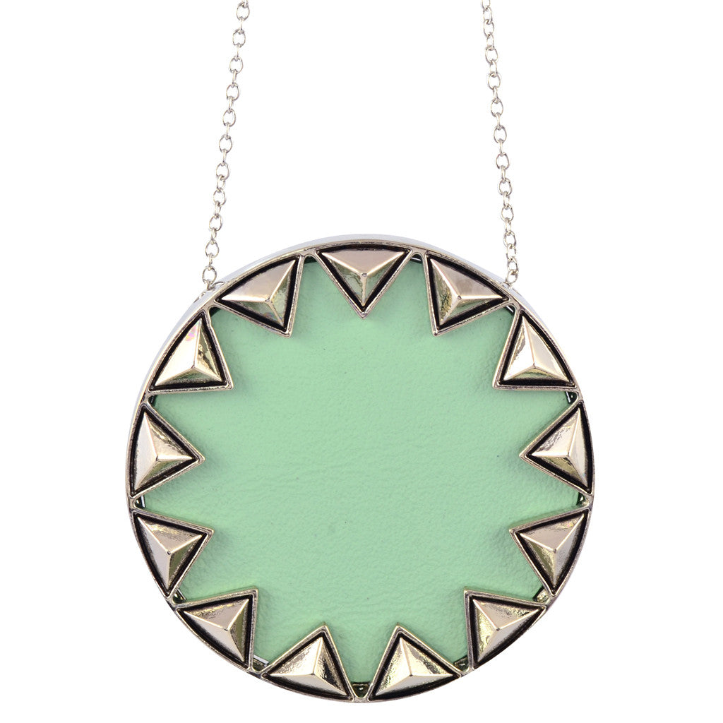 House of Harlow Sunburst Pendant Necklace, Silvertone With Mint Leather, by Nicole Richie, 14""