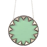 House of Harlow Sunburst Pendant Necklace, Silvertone With Mint Leather, by Nicole Richie, 14