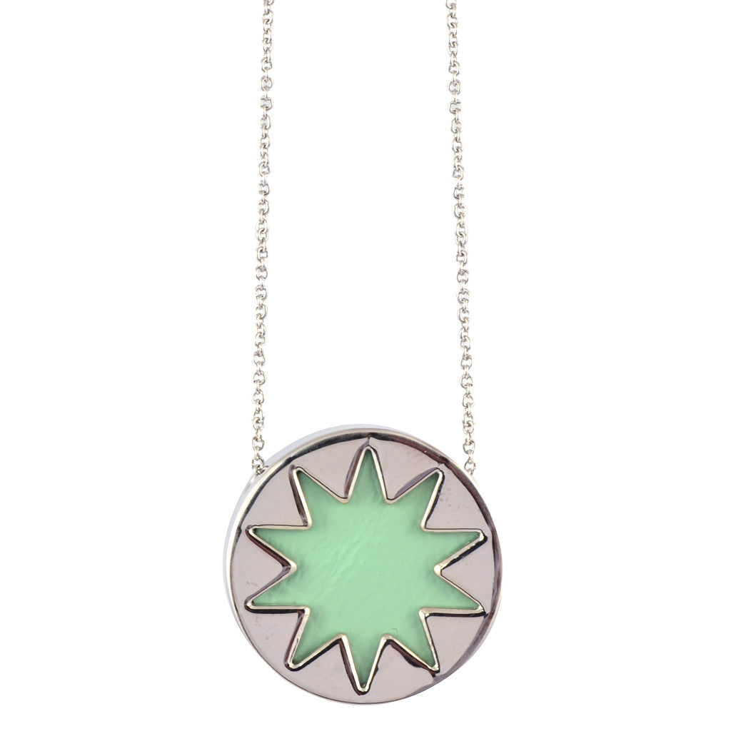 sunburst format tate necklace diamond gold neck