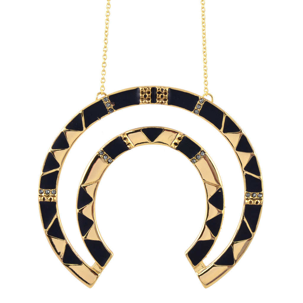 House of Harlow Curve Aztec Pendant Necklace, Black Goldtone, 26""