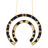 House of Harlow Curve Aztec Pendant Necklace, Black Goldtone, 26