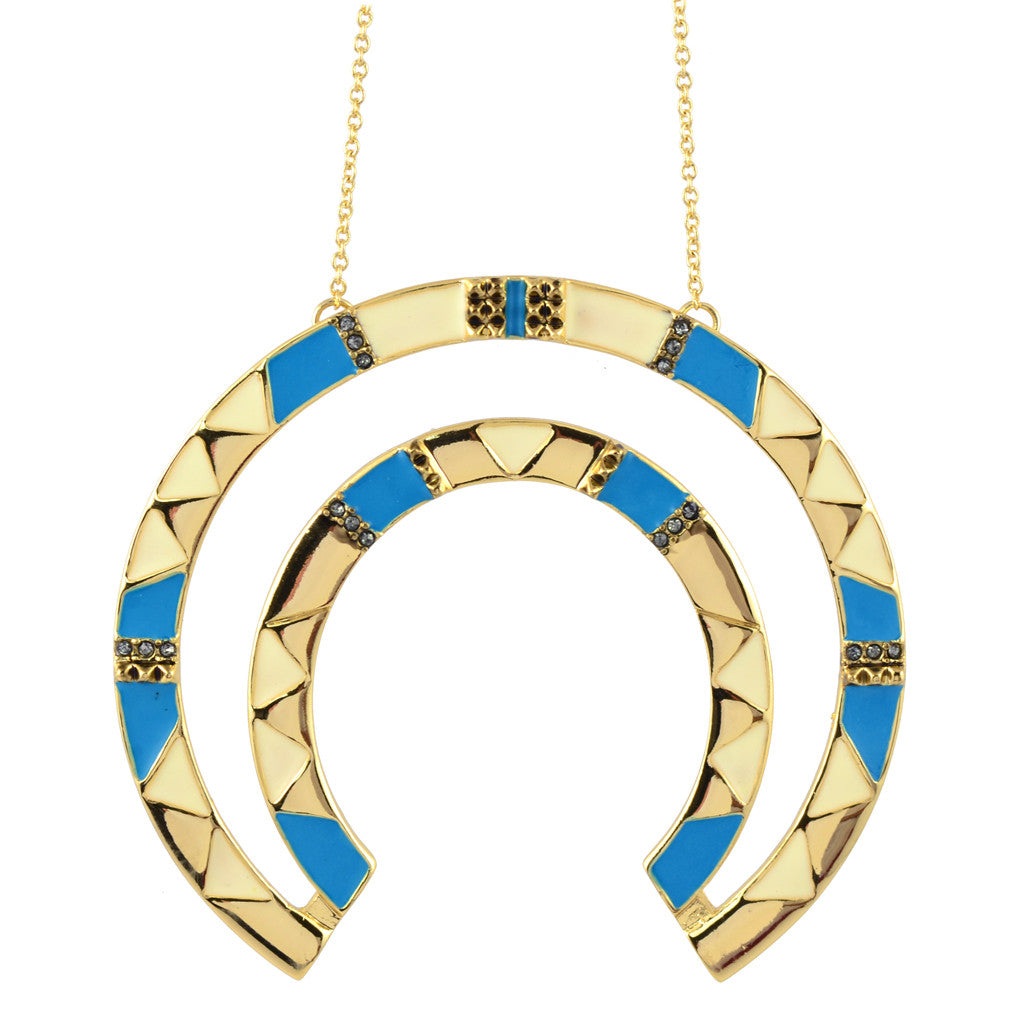Hoh n002310 house of harlow curve aztec pendant necklace bluewhite house of harlow curve aztec pendant necklace bluewhite goldtone 26 mozeypictures Gallery