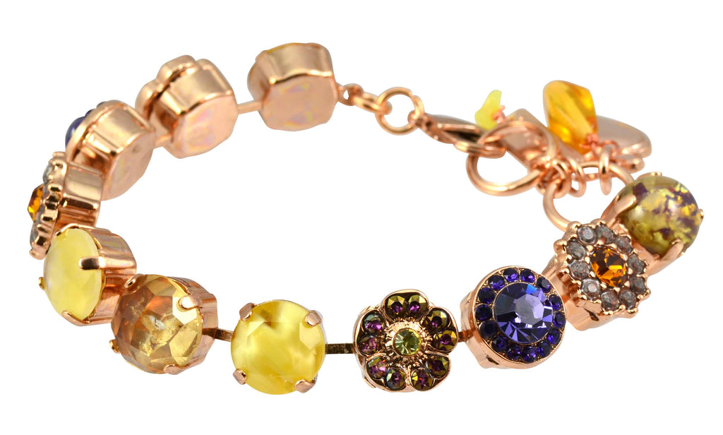 Hope Rose Gold Plated Flower Swarovski Crystal Tennis Bracelet, 8