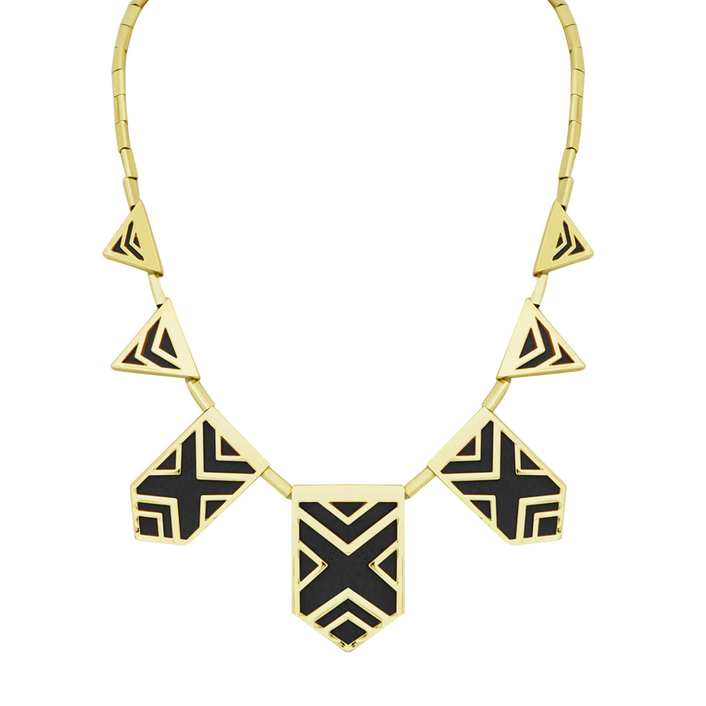 House of Harlow Classic Caged Station Necklace, Goldtone Black Enamel, 18+2