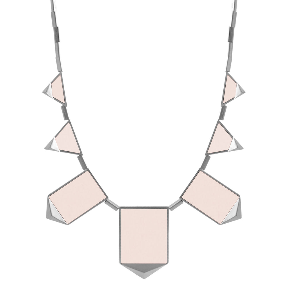 House of Harlow Classic Station Pyramid Necklace, Silvertone Pink Leather, 18+2