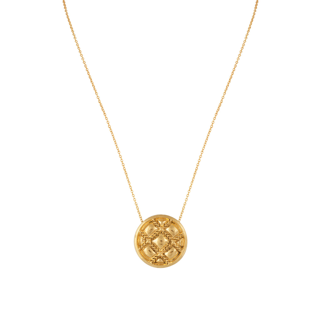 House of Harlow Phoebe Quilted Pendant Necklace, Goldtone, by Nicole Richie, 16+2