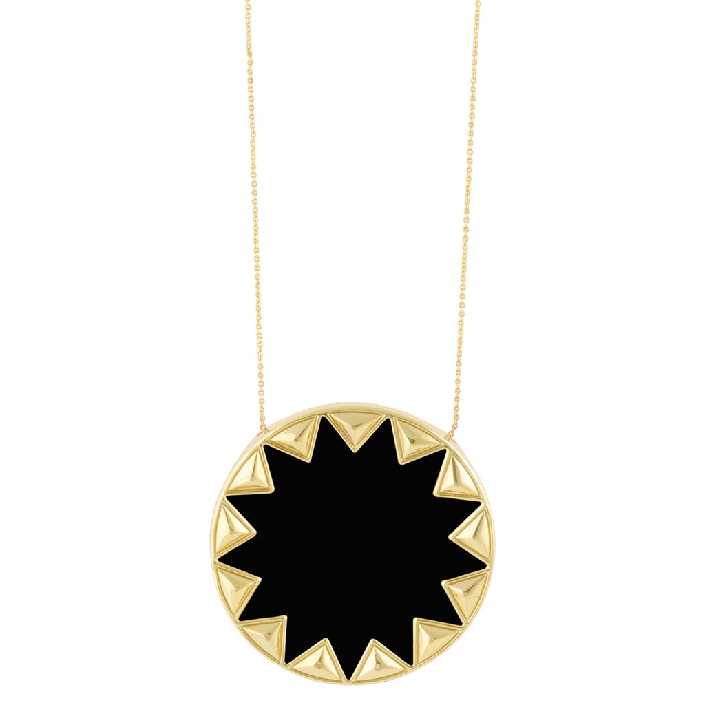 House of Harlow Sunburst Pendant Necklace, Goldtone With Black Leather, by Nicole Richie, 14