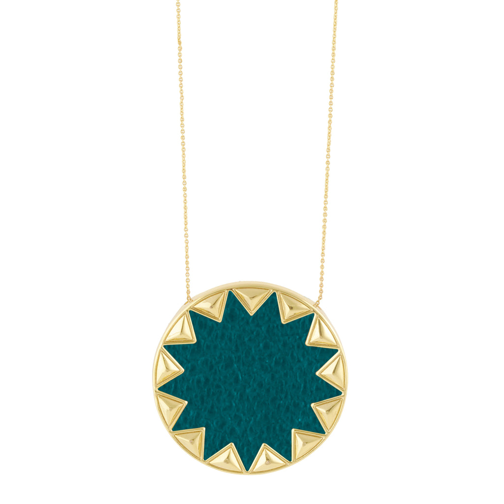 House of Harlow Sunburst Pendant Necklace, Goldtone With Dark Teal Leather, by Nicole Richie, 14