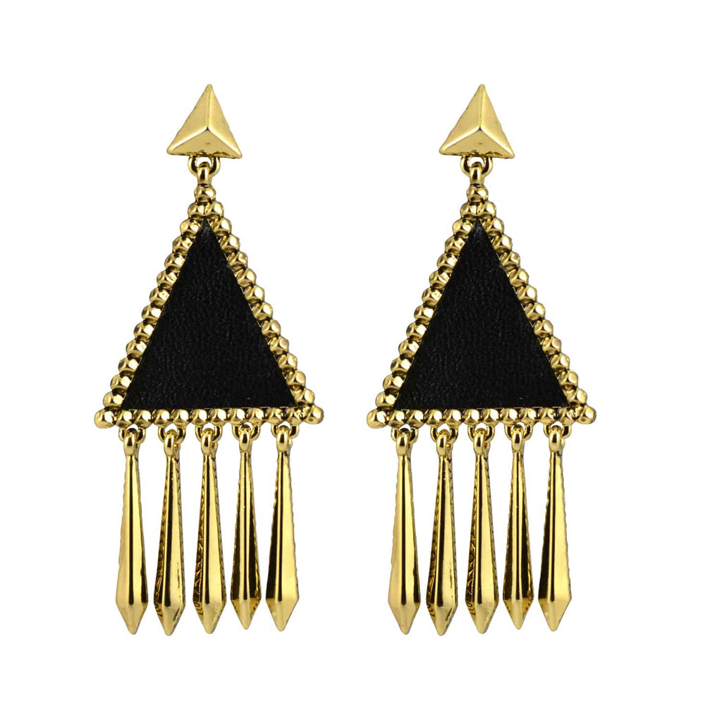 House of Harlow 1960 Del Sol Triangle Drop Earrings, Goldtone With Black Leather