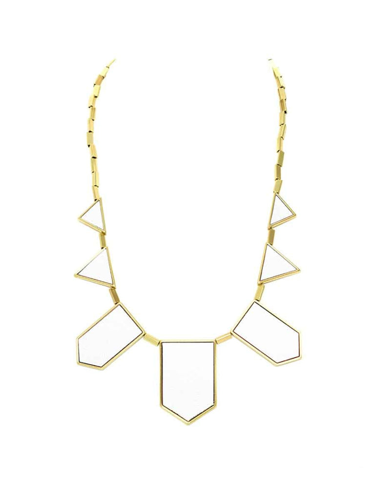 House of Harlow 1960 Five Station Necklace, Goldtone White Leather, 18+2