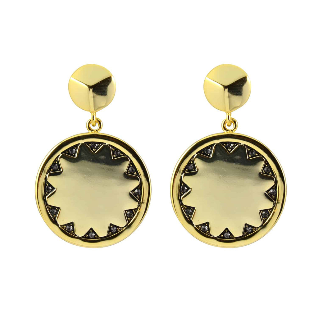 House of Harlow 1960 Incan Sun Coin Drop Earrings, Goldtone