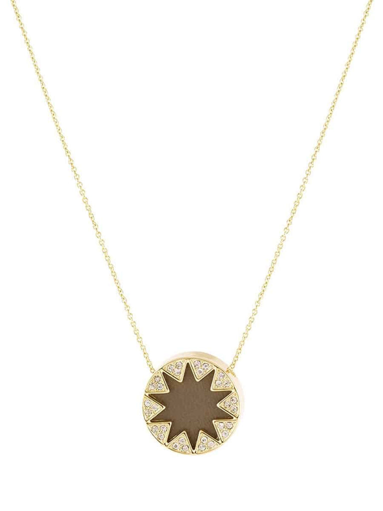 House of Harlow 1960 Mini Sunburst Pendant Necklace, Goldtone Khaki Leather With Clear Pave, 16+2