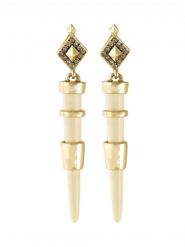 House of Harlow 1960 Rift Valley Drop Earrings, Goldtone Cream Enamel With Smokey Grey Pave