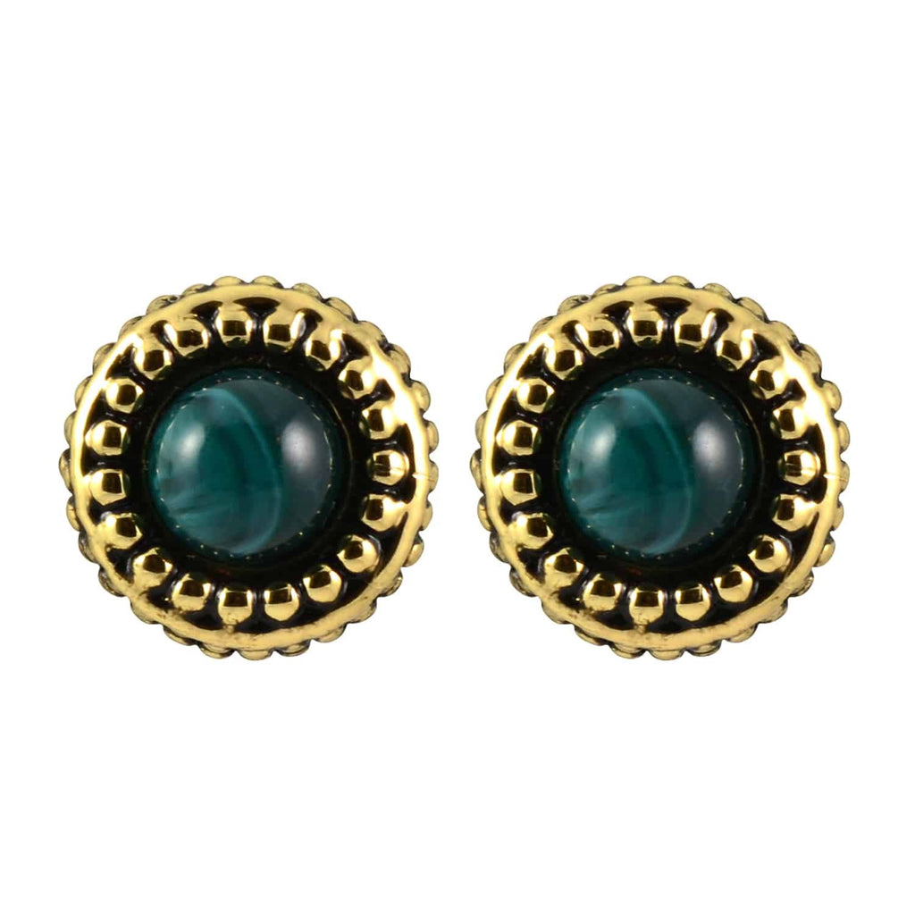 House of Harlow 1960 Small Button Cuzco Stud Earrings, Goldtone With Dark Green Gem