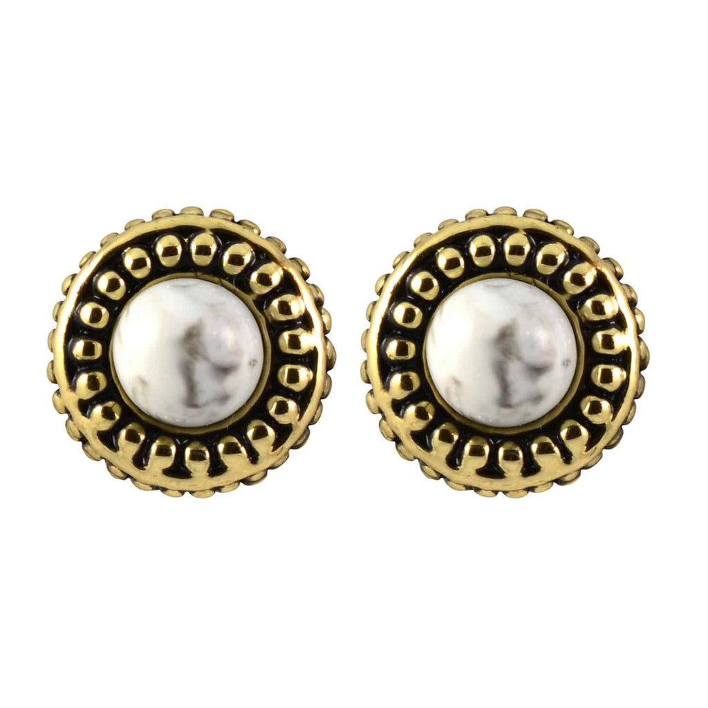 House of Harlow 1960 Small Button Cuzco Stud Earrings, Goldtone With White Gem