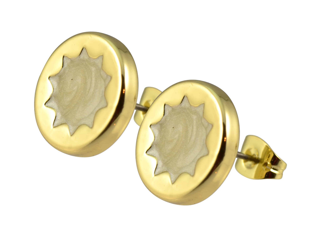 House of Harlow 1960 Small Sunburst Button Stud Earrings, Goldtone With Frosted Enamel