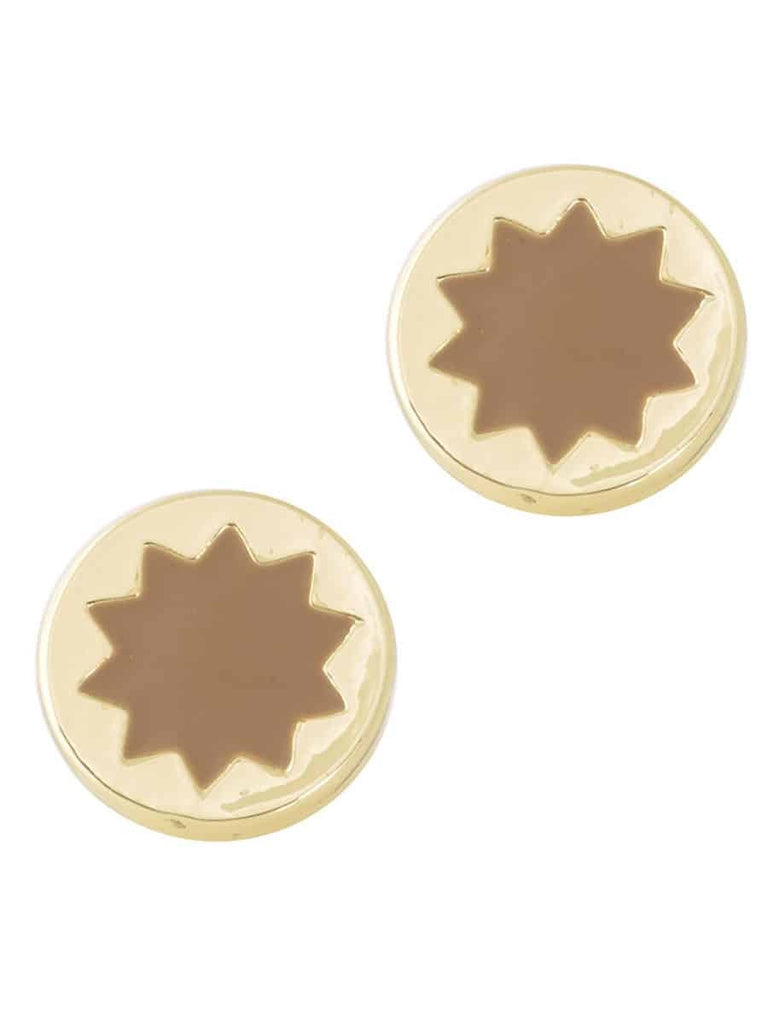 House of Harlow 1960 Small Sunburst Button Stud Earrings, Goldtone With Khaki Enamel