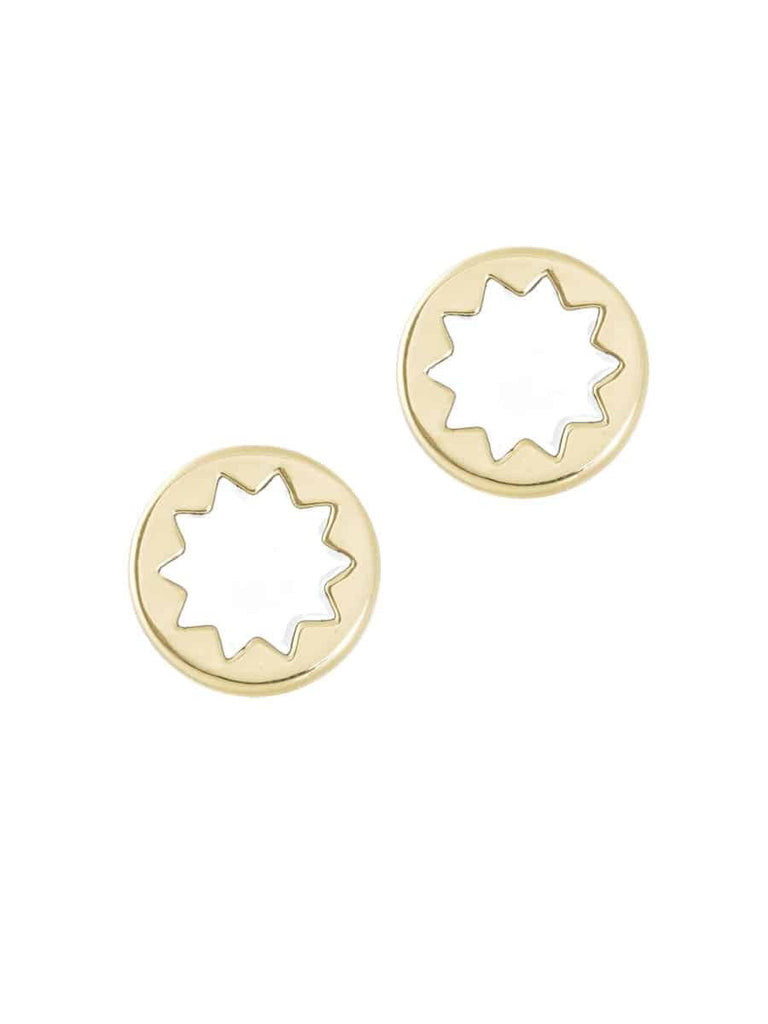 House of Harlow 1960 Small Sunburst Button Stud Earrings, Goldtone With White Enamel