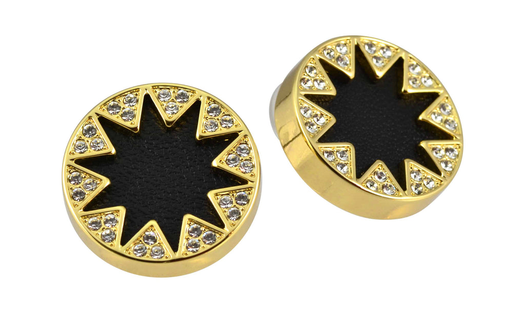 House of Harlow 1960 Sunburst Button Stud Earrings, Goldtone Black Leather With Clear Pave