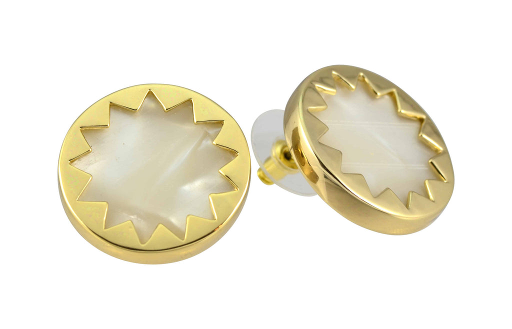House of Harlow 1960 Sunburst Button Stud Earrings, Goldtone With Frosted Resin