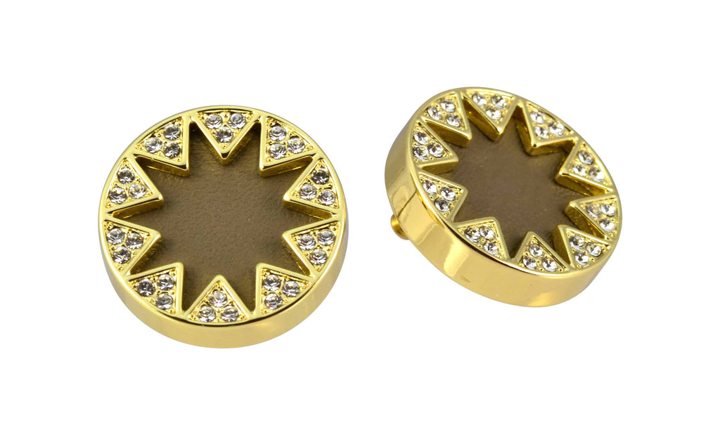 House of Harlow 1960 Sunburst Button Stud Earrings, Goldtone Khaki Leather With Clear Pave