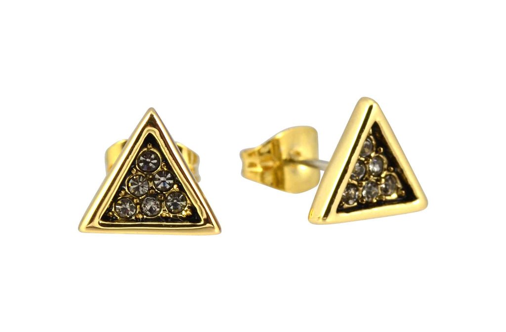 House of Harlow 1960 Triangle Stud Earrings, Goldtone With Smokey Grey Pave