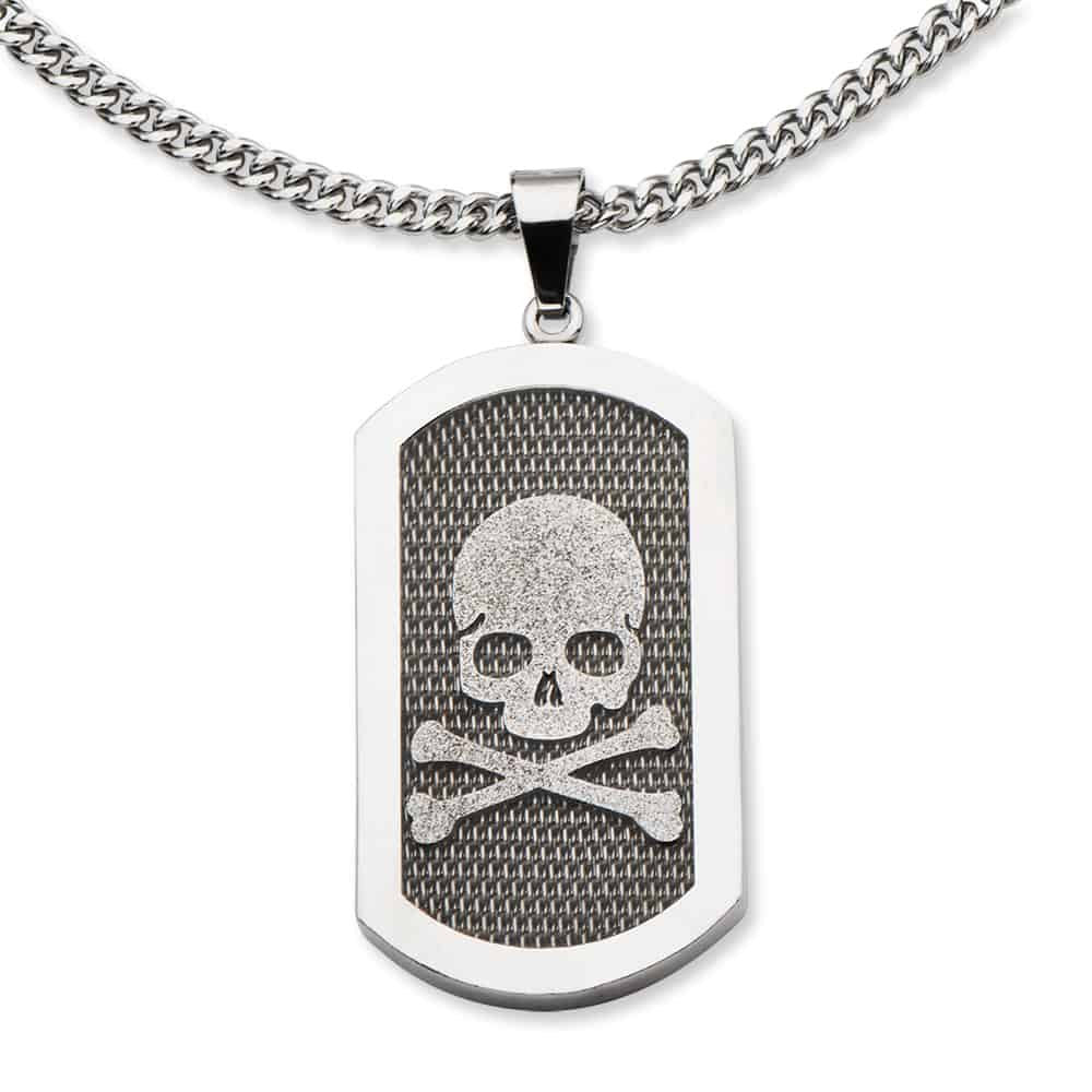 INOX 316L Stainess Steel Dog Tag Skull and Crossbones Pendant on Mesh Background