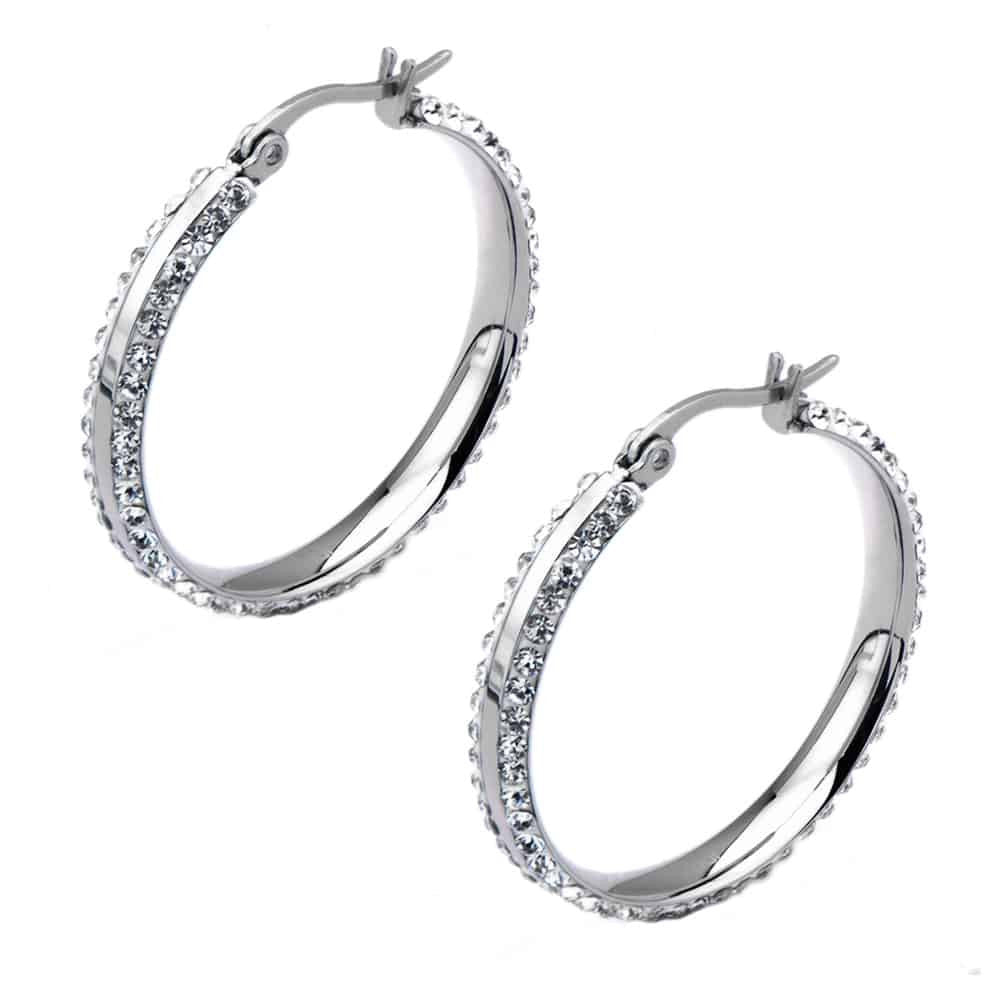 INOX 316L Stainless Steel 30mm Double Sided Ferido Crystal Hoop Earrings