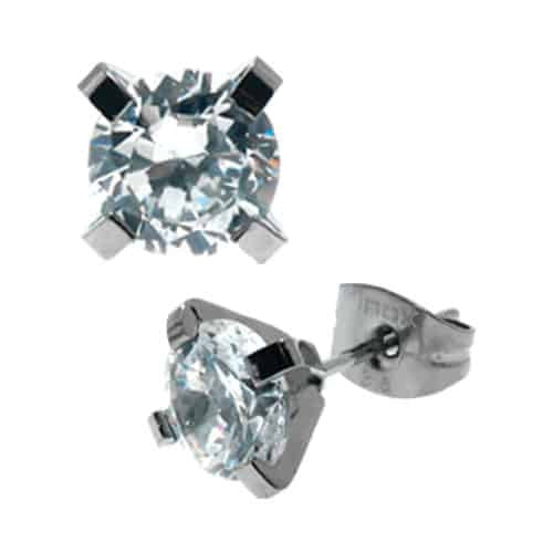INOX 316L Stainless Steel 8mm Classic CZ Stud Earrings